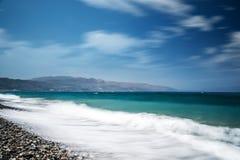 Ozeanstrand auf dem langen explosure Kretas Lizenzfreies Stockfoto