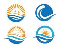 Ozeanstrand-Wellenlogo Stockbilder