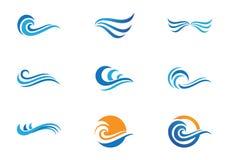 Ozeanstrand-Wellenlogo stock abbildung