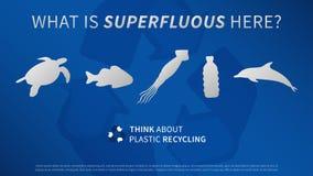 Ozeantiere und Plastikflaschenvektorillustration lizenzfreie abbildung