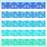 Ozeanverzierung mit Nixe, Fischer und Wellen stock abbildung