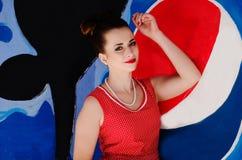 Ozerna, Ουκρανία - 7 Μαΐου 2014: Κλείστε επάνω το πορτρέτο του νέου pinup Στοκ Εικόνες