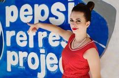 Ozerna, Украина - 7-ое мая 2014: Закройте вверх по портрету молодого pinup стоковое изображение rf