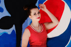 Ozerna, Ucraina - 7 maggio 2014: Chiuda sul ritratto di giovane pinup Immagini Stock