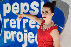 Ozerna, Ukraine - May 7, 2014: Close up portrait of young pinup Royalty Free Stock Image
