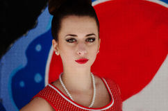 Ozerna, Ukraine - May 7, 2014: Close up portrait of young pinup royalty free stock photography