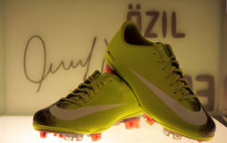 Ozil's shoes. A shot of Ozil's shoes in the Real Madrid museum Stock Photo