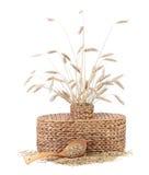 Łozinowa waza z pszenicznymi ucho. Zdjęcia Royalty Free