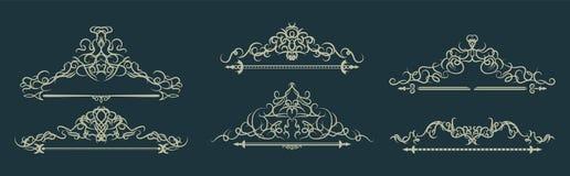 Łozinowe linie i starzy wystrojów elementy w wektorze Zdjęcie Royalty Free