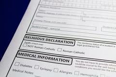 Oznajmiać wiarę uczęszczać katolickiej szkoły otrzymywać finansowanie po to, aby Obrazy Royalty Free