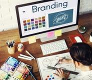 Oznakujący pomysłu projekta tożsamość Marketingowy pojęcie Obraz Stock