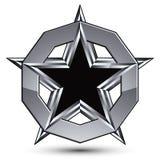 Oznakujący srebrzysty zaokrąglony geometryczny symbol, stylizowany pięcioboczny bl Fotografia Stock