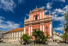 Oznanjenja Cerkev Marijinega (Franziskanerkirche) in Ljubljana Stockbild