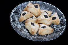Ozney haman犹太假日的面包店标志普珥节 免版税图库摄影