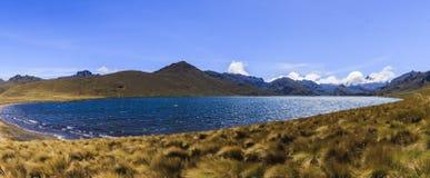 Ozogoche盐水湖全景在厄瓜多尔 库存图片