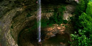 Ozone falls rappel. Rappelling the ozone falls waterfall Royalty Free Stock Photography
