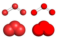 Ozone molecule. Ball-and-stick and space filling models Stock Photography