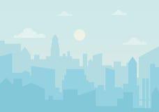 Ozono di giorno di Sun nella città Illustrazione di vettore della siluetta di paesaggio urbano Fotografia Stock