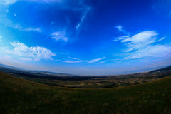 Ozun top hill view. Summer panoramic landscape  and beautiful clouds seen from Ozun hill Stock Photography