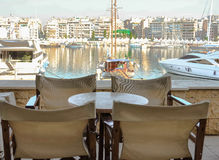 Comfortable cafe. Сozy cafe with a beautiful view of the marina Royalty Free Stock Photo