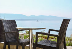 Comfortable cafe. Сozy cafe with a beautiful view of the sea Stock Photography