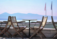 Comfortable cafe. Сozy cafe with a beautiful view of the sea Stock Photo