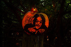 Ozzy Osbourne, Carved Pumpkin Tribute. A pumpkin tribute to singer Ozzy Osbourne on display at the Roger Williams Park Halloween Spooktacular in Providence, RI Royalty Free Stock Photo
