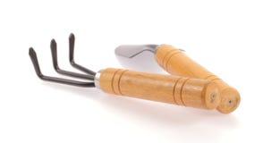 Pá de aço com um punho de madeira Foto de Stock Royalty Free