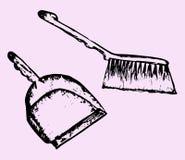 Pá-de-lixo e escova arrebatadora Imagem de Stock