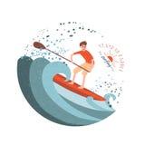Pá de pé que surfa Fotografia de Stock Royalty Free