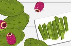 Pá e frutos do cacto do Nopal, descascados e corte Ingrediente de alimento mexicano nacional da culinária fotos de stock