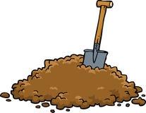 Pá em uma pilha da terra ilustração do vetor