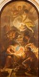 Pádua - a adoração dos pastores por Guido Cirello (1633 - 1709) em di Santa Maria del Torresino do chiesa da igreja Fotografia de Stock