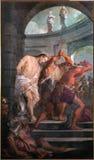 Pádua - pintura da flagelação de Jesus na igreja Chiesa di San Gaetano imagens de stock royalty free