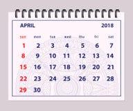 Página abril de 2018 gris en fondo de la mandala Fotos de archivo libres de regalías