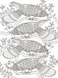 Página adulta da coloração com pombas Foto de Stock Royalty Free