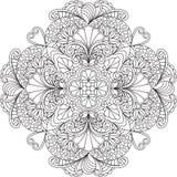 Página adulta da coloração de Zentangle, mandala com flores Imagens de Stock