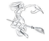 Página adulta del colorante de la bruja hermosa libre illustration