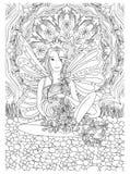 Página adulta del libro de colorear con la señora embarazada Embarazo en estilo del garabato Foto de archivo libre de regalías