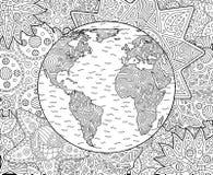Página adulta del libro de colorear con tierra del planeta stock de ilustración
