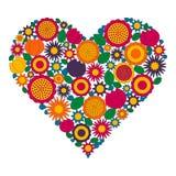 Página adulta del libro de colorear - vector la imagen coloreada del contorno - forma del corazón con las flores de la primavera Foto de archivo libre de regalías