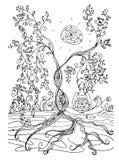 Página adulta do livro para colorir com senhora grávida Gravidez no estilo da garatuja Fotos de Stock Royalty Free