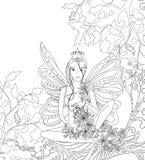A página adulta do livro para colorir, senhora feericamente isolada com borboleta voa Arte do estilo de Zentangle Monochrome pret Imagens de Stock