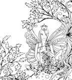 A página adulta do livro para colorir, senhora feericamente isolada com borboleta voa Arte do estilo de Zentangle Monochrome pret Fotografia de Stock Royalty Free