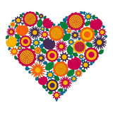 Página adulta do livro para colorir - vector a imagem colorida do contorno - forma do coração com flores da mola Foto de Stock Royalty Free