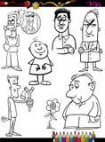 Página ajustada da coloração dos desenhos animados dos povos Fotos de Stock Royalty Free