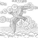 Página Antistress da coloração com gaivota Fotografia de Stock Royalty Free