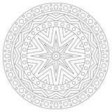 Página blanco y negro del colorante de la mandala para los adultos Foto de archivo