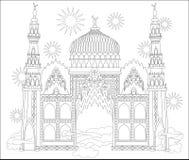 Página blanco y negro para colorear Castillo árabe fantástico de un cuento de hadas Hoja de trabajo para los niños y los adultos Foto de archivo