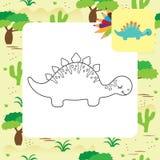 Página bonito da coloração de Dino dos desenhos animados Foto de Stock
